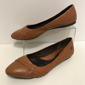 Born Brown Leather Ballet Flats Point Toe 12M